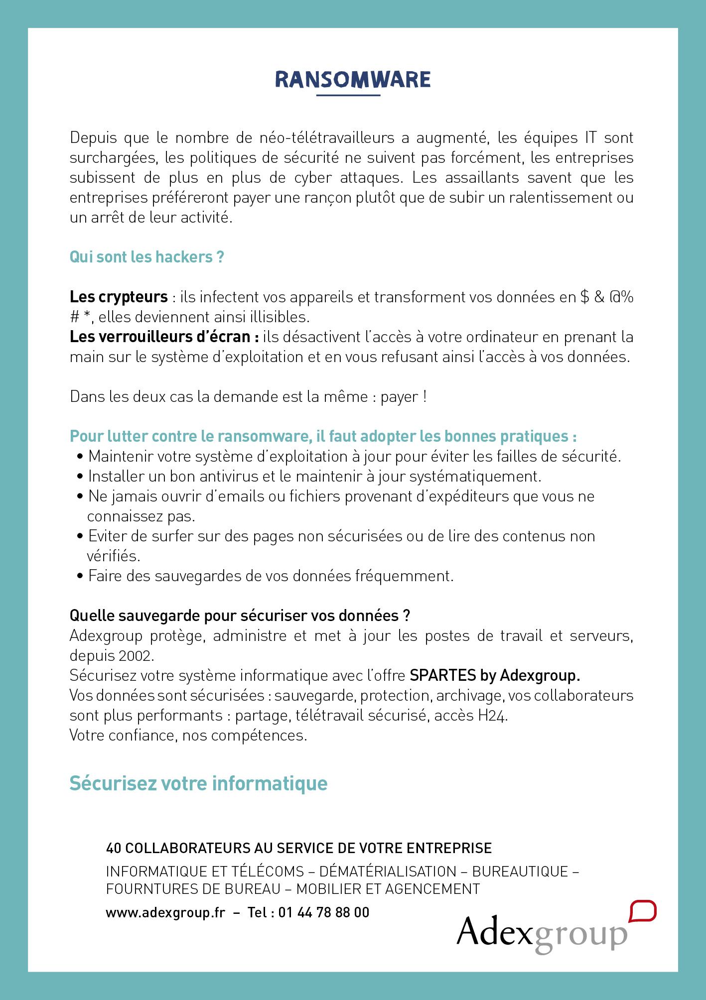 Affiche sur le ransomware